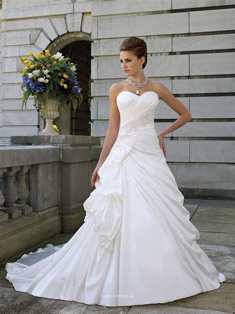 S4 Satin Motif 2 satin a line wedding dress uk with strapless sweetheart