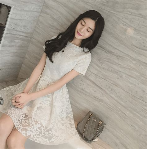 Valencia Dress Putih Brokat Import dress putih brokat import myrosefashion