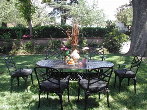 patio dining set 7 cbm outdoor cast aluminum 7 patio dining set c with cushions patio table