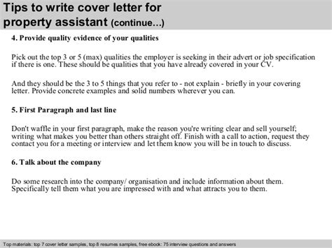 Property Assistant Cover Letter by Property Assistant Cover Letter