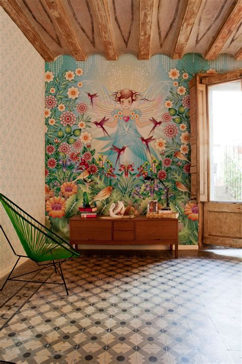 designing a wall mural beautiful illustrative wallpapers
