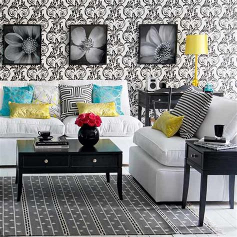 classic monochrome living room decorating with colour