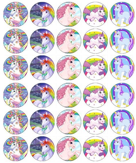 printable unicorn cupcake toppers x 30 unicorn horse cupcake toppers edible wafer paper ebay