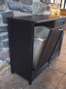 new black painted wood double trash bin cabinet garbage can simplehuman in cabinet trash can the container store