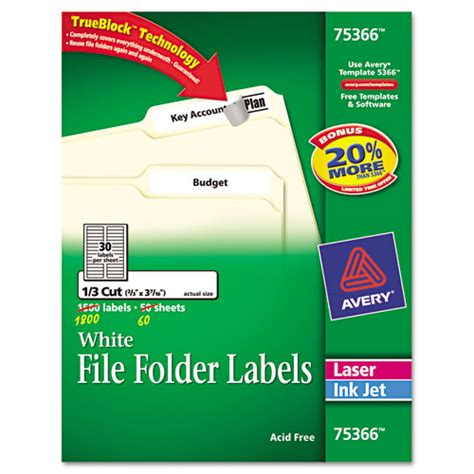 Ave75366 Avery Permanent File Folder Labels Zuma Avery 3m Templates