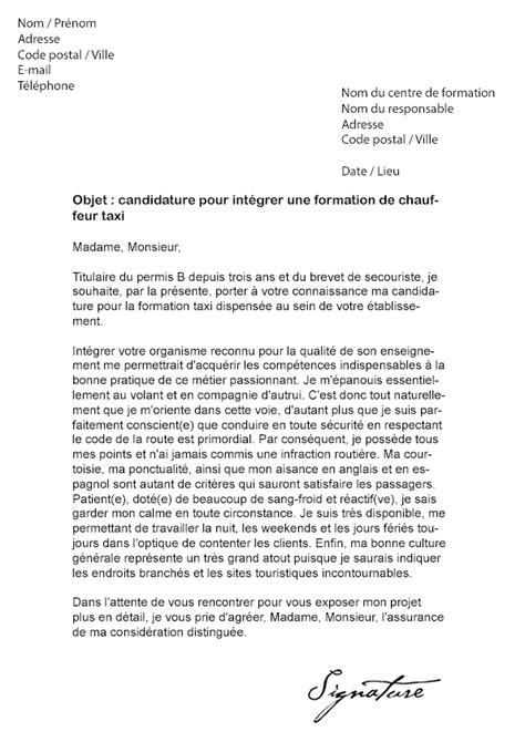 Lettre De Motivation Demande De Visa Visite Familiale Lettre De Motivation Formation Conducteur De Taxi Mod 232 Le