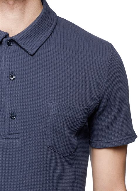 shirt knit lyst hardy amies waffle knit polo shirt in blue for
