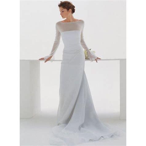boat neck long sleeve wedding dress modern long sleeves boat neck train wedding dress star