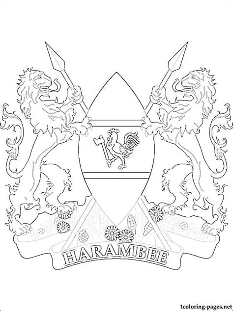 kenya coat of arms coloring page coloring pages