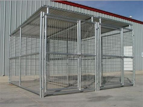 steel kennel heavy duty steel kennel 2 run 5 x10 x6 h w roof