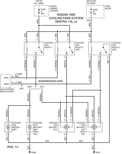 nissan cooling fans system diagramas ventiladores