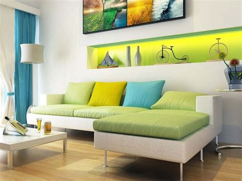 Living Room Colours With Sofa Modern Living Room With Green Color Accent In Wall And