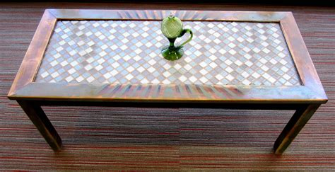 Mosaic Table L Rustic Coffee Table With Tile Mosaic By Builtinabarn Coffee Table Inspirations