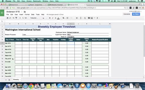 Timecard Spreadsheet by Tutorial Biweekly Timesheets Using Spreadsheets