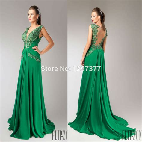 Forest Fitted Green Prom Dress Chiffon Formal Evening Gown