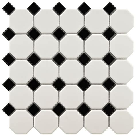 merola tile metro octagon matte white and black 11 1 2 in