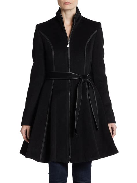 womens swing coat wool dawn levy belted wool swing coat in black lyst