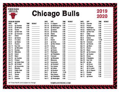 printable   chicago bulls schedule