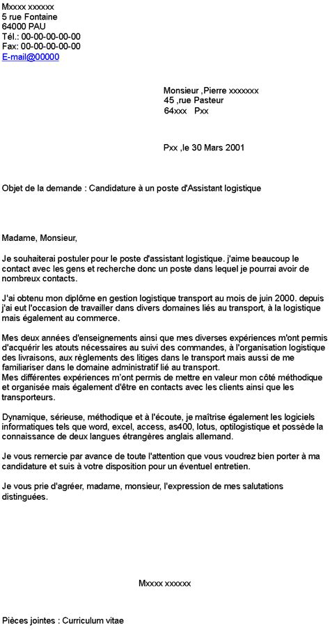 Exemple De Lettre De Motivation Transport Candidature 224 Un Poste D Assistant Logistique