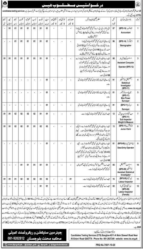 CTS Jobs 2020 Balochistan Advertisement – www.cts.org.pk