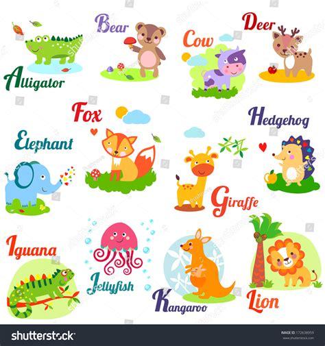 animal alphabet letters q u vector vectores en stock animal alphabet for abc book vector illustration of