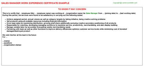 Experience Letter Format For Finance Manager Sales Manager Work Experience Certificates Sles