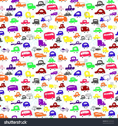 auto pattern finder seamless pattern with cars in cartoon style stock vector
