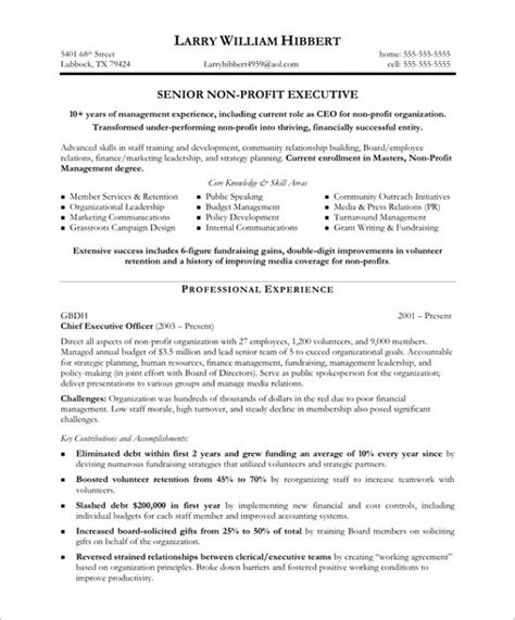 non profit resume sle sle resumes for non profit executive director board of