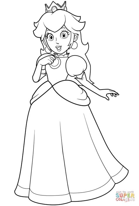Pretty Princess Peach Coloring Page Free Printable Paper Princess Coloring Pages