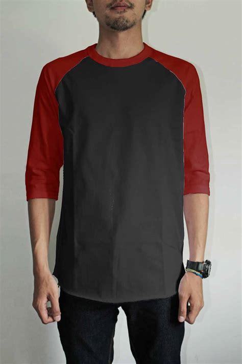 Hitam Maroon Sol Merah toko jual grosir kaos distro cowok raglan hitam merah maroon d murah