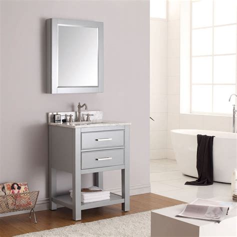 eviva aberdeen 174 24 quot grey framed bathroom wall mirror 16 mirror medicine cabinet 24 x 30 james martin 41