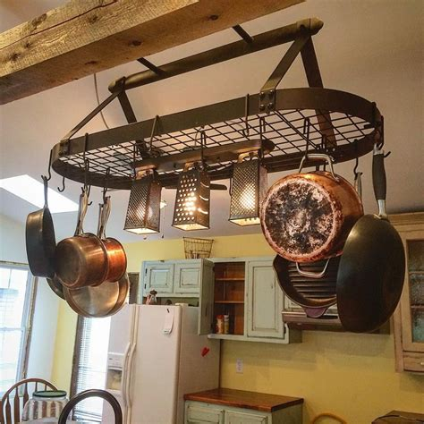 Kitchen Pot Hanging Rack With Lights 1000 Ideas About Pot Rack Hanging On Pinterest Pan Storage Pan Organization And Hanging Pots