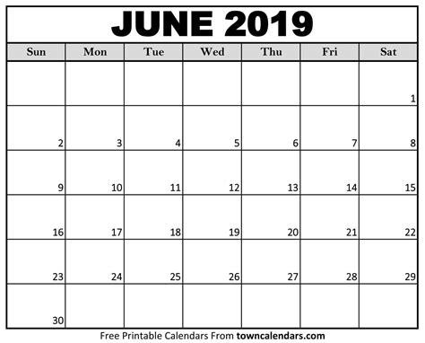 printable june  calendar towncalendarscom