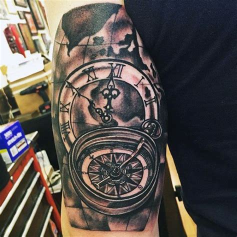 mens triceps timepiece and compass tattoo tattoo