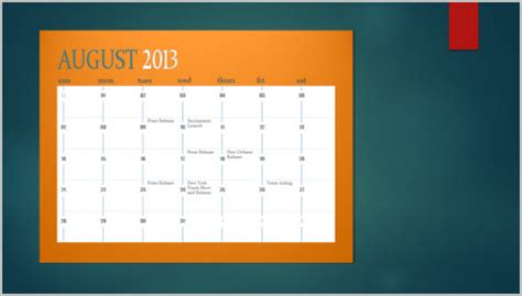 insert a calendar on a slide powerpoint