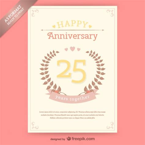 Free Printable Anniversary Card Templates by Free Vintage Anniversary Card Template Vector Free