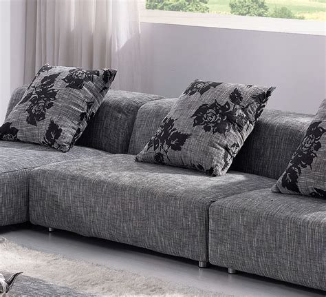 Comfy Grey Sofa Contemporary Zebrano Grey Solid Fabric Sectional Sofa With