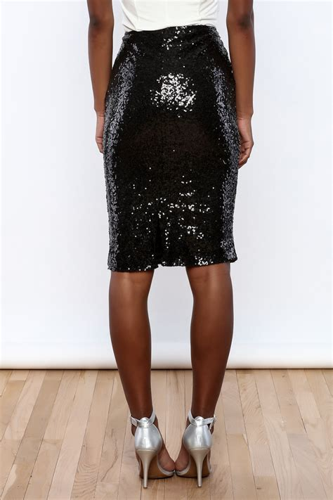 alythea black sequin pencil skirt from new york city by