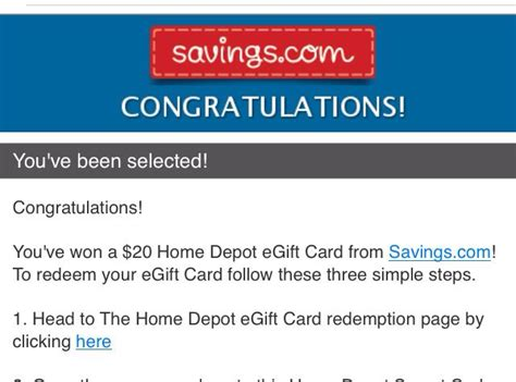 Home Depot E Gift Card - i won a 20 00 home depot e gift card freebies great deals pi