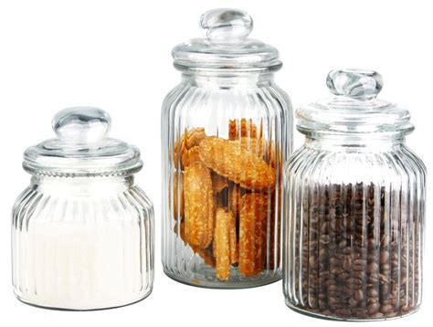 Clear Glass Kitchen Canister Sets Classic Ribbed Retro Glass Cookie Jars With Air Tight Lids