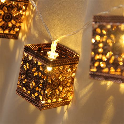 Decorative Patio String Lights Aliexpress Buy Retro Square Lantern String Lights 20 Led Lantern Indoor Outdoor Decorative