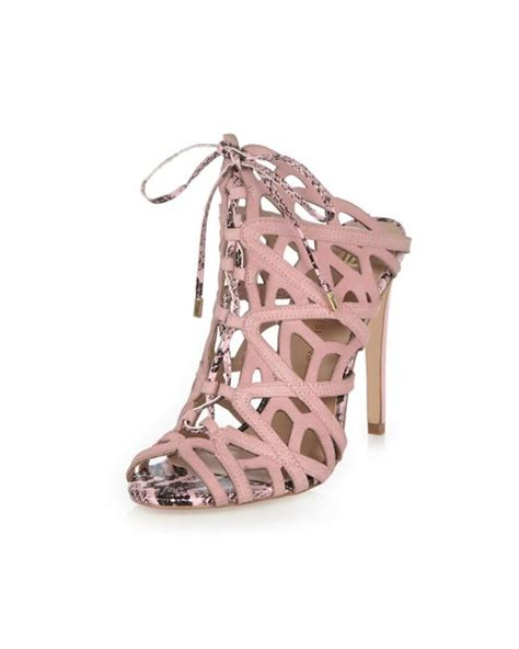 light pink tie up heels river island light pink suede caged tie up heels in pink