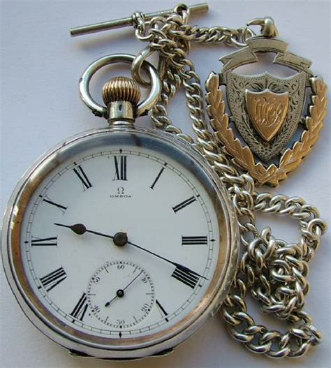 Omega Silver Chain antique silver omega pocket chain and fob 397106