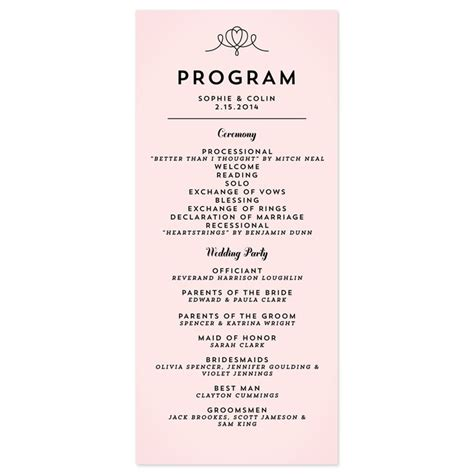 wedding reception program template best 25 wedding program sles ideas on