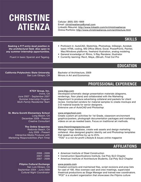 Pdf Resumes by Architecture Resume Pdf Resume For Architects