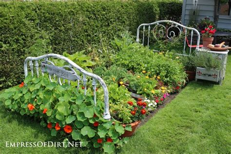 raised garden bed frame repurposed bed frame to garden bed hometalk