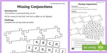 missing conjunctions activity sheet amazing fact july