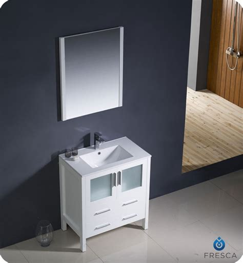 30 Bathroom Sink Cabinet 30 Torino White Modern Bathroom Vanity W Integrated Sink