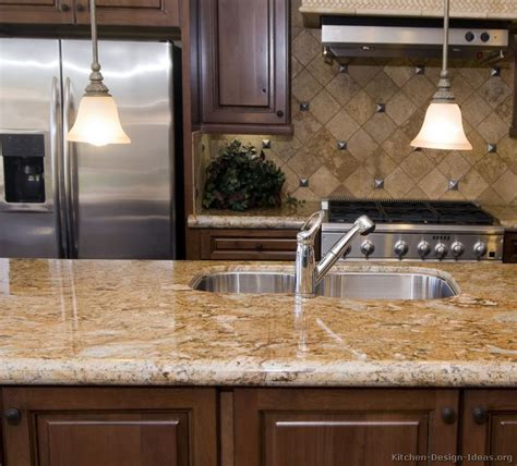 Kitchen Marble Countertops Pictures Of Kitchens Traditional Medium Wood Cabinets Brown Page 2