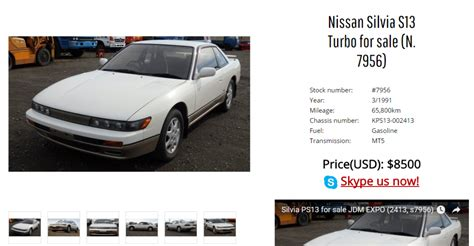 nissan s13 import jdm sports and classic cars for sale jdm expo skyline